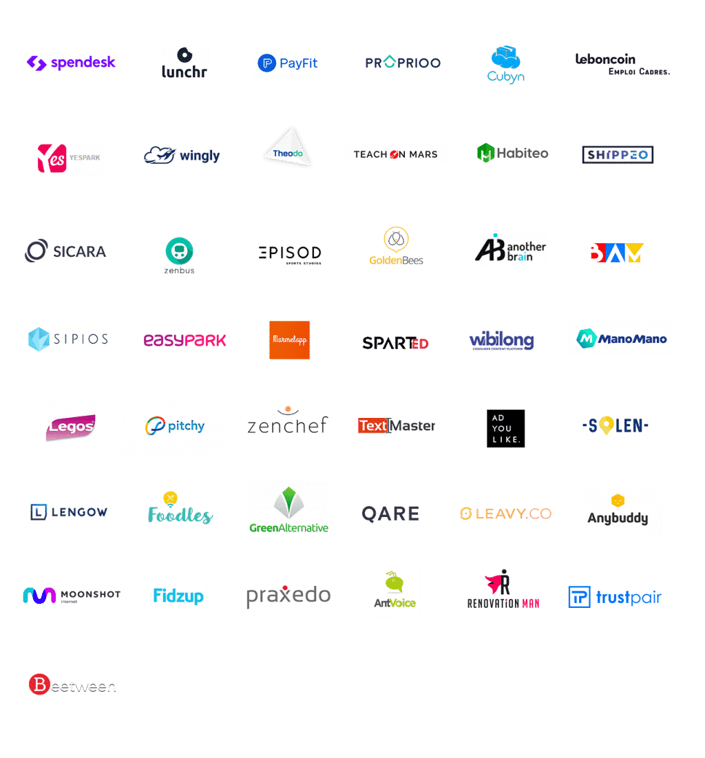 Lunchr, Spendesk, Payfit, Proprioo, Cubyn, LeBonCoin, Yespark, Wingly, Trustpair, Shippeo, Theodo...